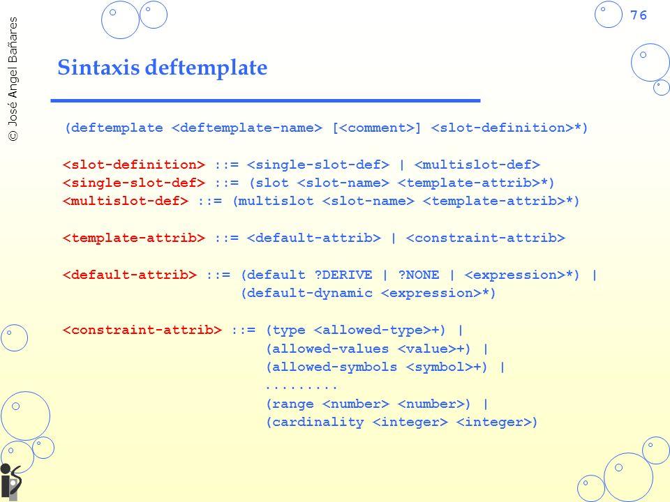 Sintaxis deftemplate (deftemplate <deftemplate-name> [<comment>] <slot-definition>*) <slot-definition> ::= <single-slot-def> | <multislot-def>